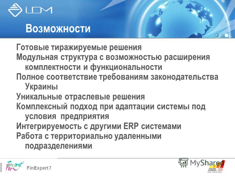 FinExpert 7 Возможности Готовые тиражируемые решения Модульная структура с возможностью расширения комплектности и функциональности Полное соответствие требованиям законодательства Украины Уникальные отраслевые решения Комплексный подход при адаптаци