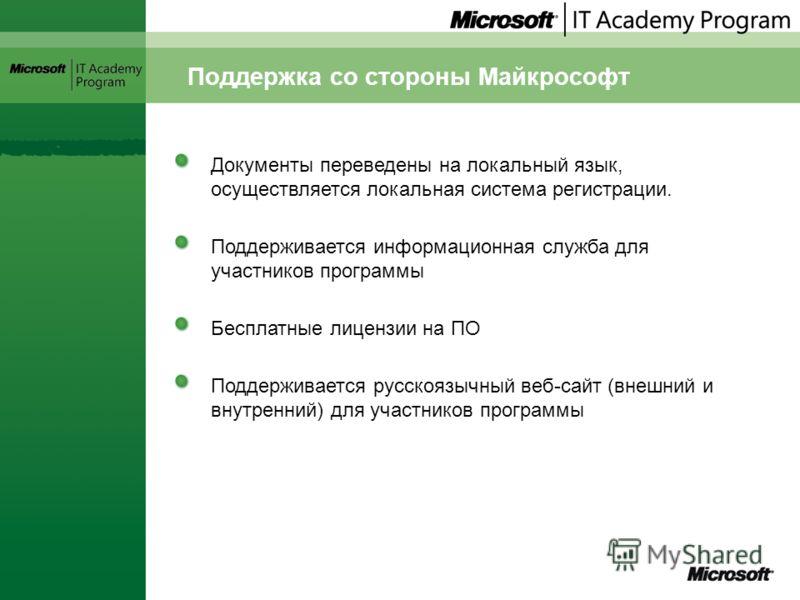 Поддержка со стороны Майкрософт Документы переведены на локальный язык, осуществляется локальная система регистрации. Поддерживается информационная служба для участников программы Бесплатные лицензии на ПО Поддерживается русскоязычный веб-сайт (внешн