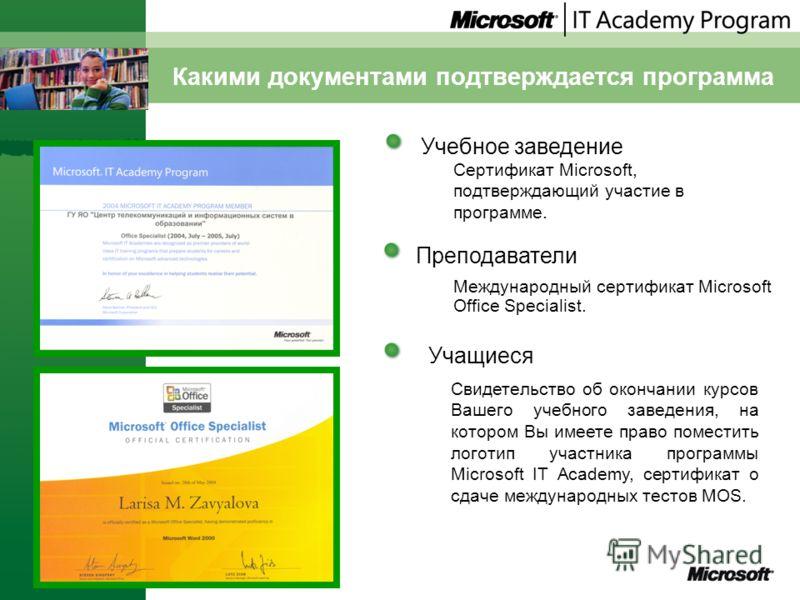 Какими документами подтверждается программа Учебное заведение Учащиеся Преподаватели Международный сертификат Microsoft Office Specialist. Сертификат Microsoft, подтверждающий участие в программе. Свидетельство об окончании курсов Вашего учебного зав