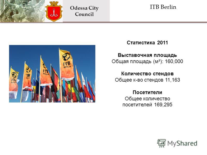 ITB Berlin Odessa City Council Статистика 2011 Выставочная площадь Общая площадь (м²): 160,000 Количество стендов Общее к-во стендов 11,163 Посетители Общее количество посетителей 169,295