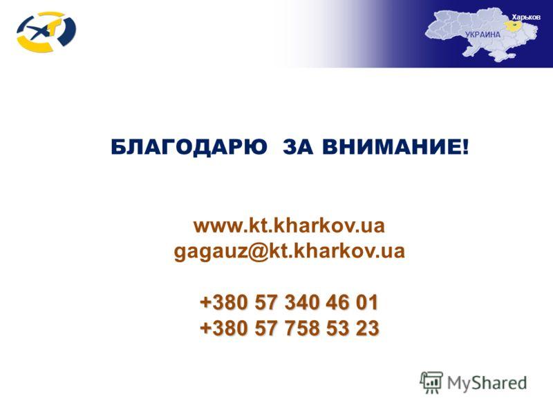 БЛАГОДАРЮ ЗА ВНИМАНИЕ! www.kt.kharkov.ua gagauz@kt.kharkov.ua +380 57 340 46 01 +380 57 758 53 23 УКРАИНА Харьков