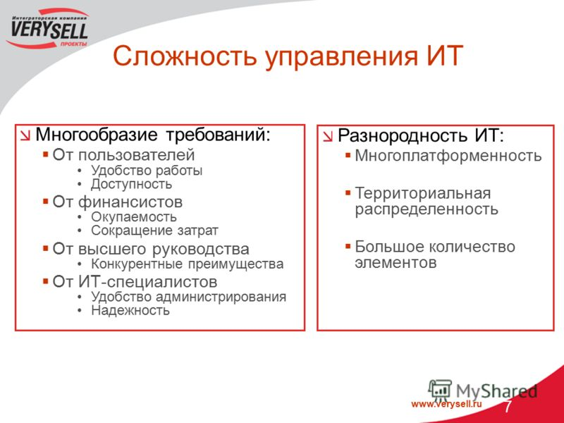 www.verysell.ru 7 Сложность управления ИТ Многообразие требований: От пользователей Удобство работы Доступность От финансистов Окупаемость Сокращение затрат От высшего руководства Конкурентные преимущества От ИТ-специалистов Удобство администрировани
