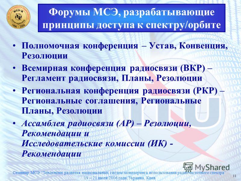 Семинар МСЭ Тенденции развития национальных систем мониторинга использования радиочастотного спектра 19 – 21 июля 2006 года, Украина, Киев 11 Полномочная конференция – Устав, Конвенция, Резолюции Всемирная конференция радиосвязи (ВКР) – Регламент рад