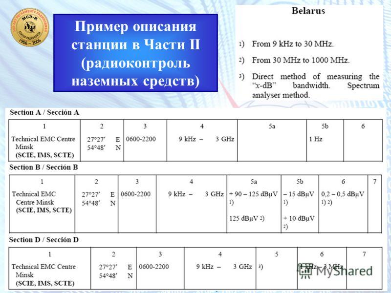 Семинар МСЭ Тенденции развития национальных систем мониторинга использования радиочастотного спектра 19 – 21 июля 2006 года, Украина, Киев 30 Пример описания станции в Части II (радиоконтроль наземных средств)