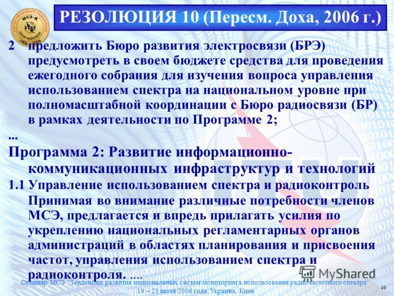 Семинар МСЭ Тенденции развития национальных систем мониторинга использования радиочастотного спектра 19 – 21 июля 2006 года, Украина, Киев 49 РЕЗОЛЮЦИЯ 10 (Пересм. Доха, 2006 г.) 2предложить Бюро развития электросвязи (БРЭ) предусмотреть в своем бюдж