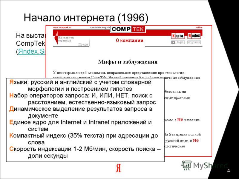 4 Начало интернета (1996) На выставке Netcom'96, 18 октября 1996 года, CompTek анонсировал первые продукты серии Яndex (Яndex.Site, Яndex.Dict).Яndex.SiteЯndex.Dict