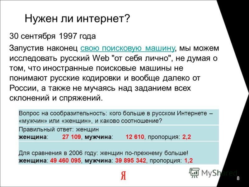 8 Нужен ли интернет? 30 сентября 1997 года Запустив наконец свою поисковую машину, мы можем исследовать русский Web