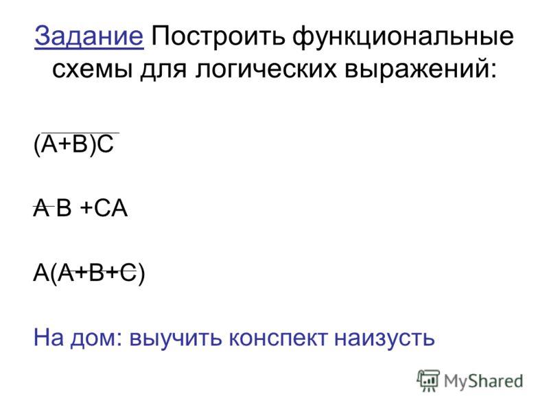 Задание Построить функциональные схемы для логических выражений: (А+В)С А В +СА А(А+В+С) На дом: выучить конспект наизусть