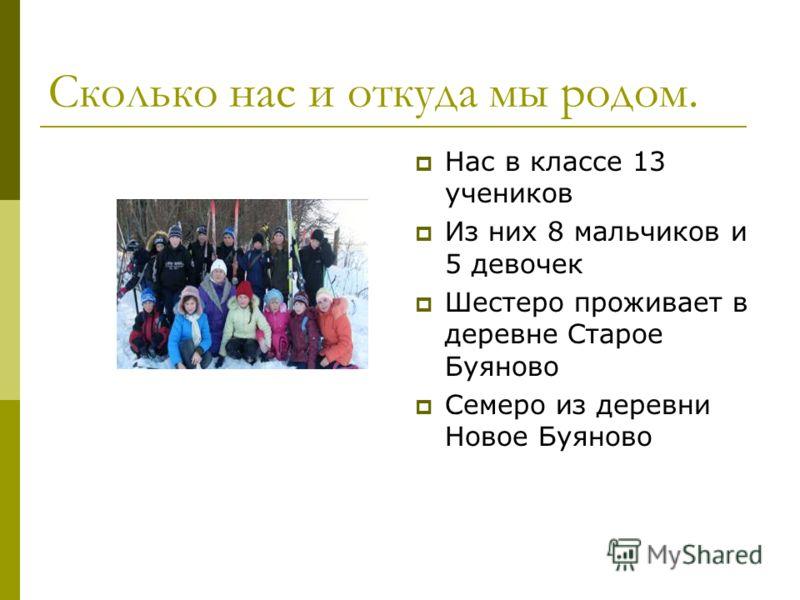 Сколько нас и откуда мы родом. Нас в классе 13 учеников Из них 8 мальчиков и 5 девочек Шестеро проживает в деревне Старое Буяново Семеро из деревни Новое Буяново