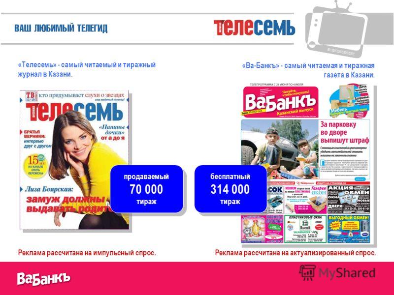 «Телесемь» - самый читаемый и тиражный журнал в Казани. «Ва-Банкъ» - самый читаемая и тиражная газета в Казани. Реклама рассчитана на импульсный спрос.Реклама рассчитана на актуализированный спрос. продаваемый 70 000 тираж продаваемый 70 000 тираж бе