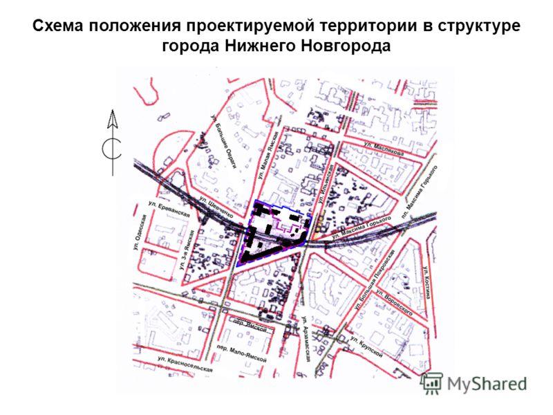 Схема положения проектируемой территории в структуре города Нижнего Новгорода