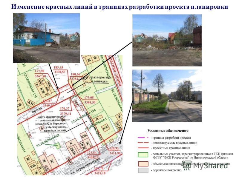Изменение красных линий в границах разработки проекта планировки