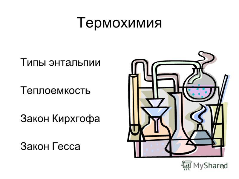 1 Термохимия Типы энтальпии Теплоемкость Закон Кирхгофа Закон Гесса