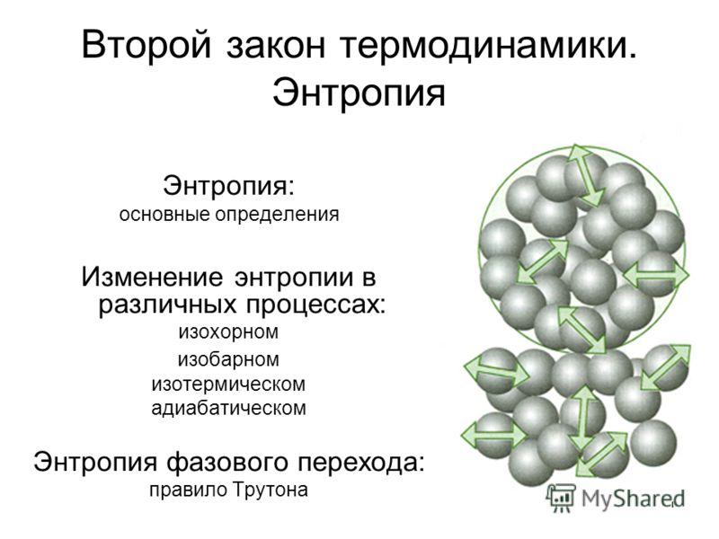 1 Второй закон термодинамики. Энтропия Энтропия: основные определения Изменение энтропии в различных процессах: изохорном изобарном изотермическом адиабатическом Энтропия фазового перехода: правило Трутона