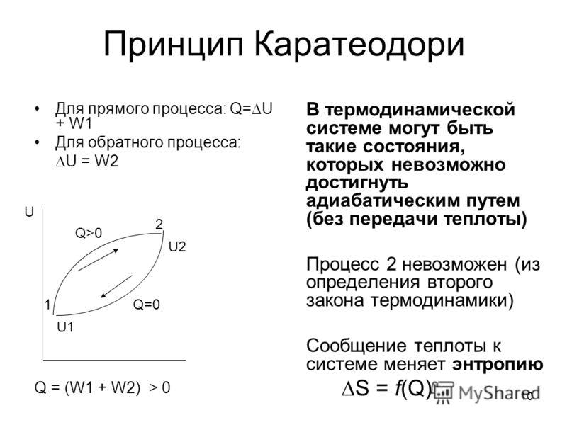 10 Принцип Каратеодори Для прямого процесса: Q= U + W1 Для обратного процесса: U = W2 Q = (W1 + W2) > 0 В термодинамической системе могут быть такие с