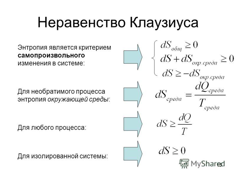 15 Неравенство Клаузиуса Энтропия является критерием самопроизвольного изменения в системе: Для необратимого процесса энтропия окружающей среды: Для любого процесса: Для изолированной системы: