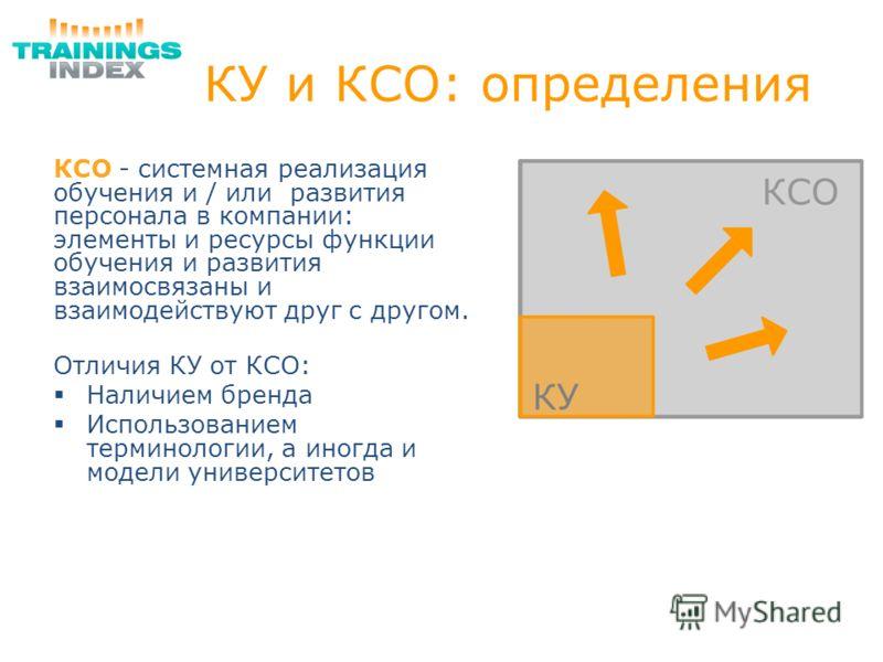 КУ и КСО: определения КСО - системная реализация обучения и / или развития персонала в компании: элементы и ресурсы функции обучения и развития взаимосвязаны и взаимодействуют друг с другом. Отличия КУ от КСО: Наличием бренда Использованием терминоло