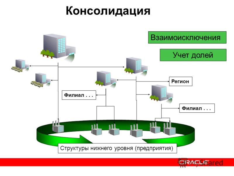 Консолидация Взаимоисключения Филиал... Регион Структуры нижнего уровня (предприятия) Учет долей