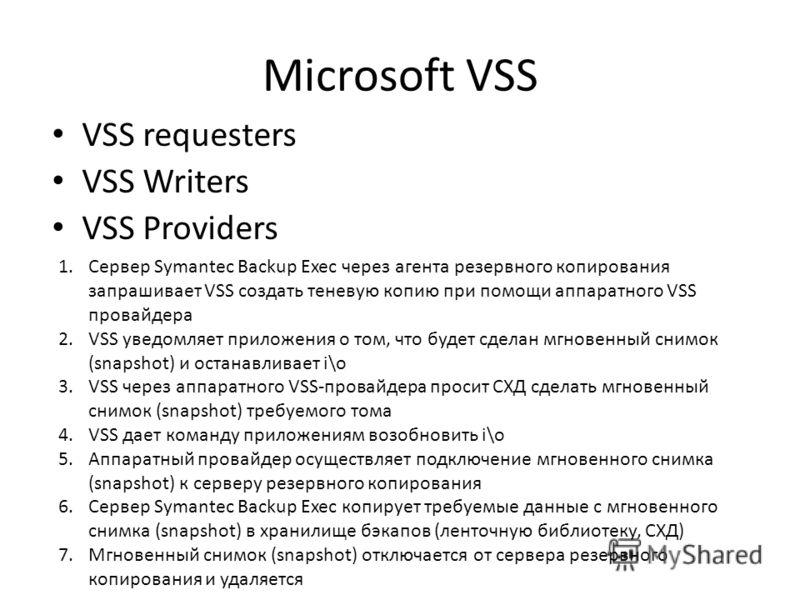 Microsoft VSS VSS requesters VSS Writers VSS Providers 1.Сервер Symantec Backup Exec через агента резервного копирования запрашивает VSS создать теневую копию при помощи аппаратного VSS провайдера 2.VSS уведомляет приложения о том, что будет сделан м