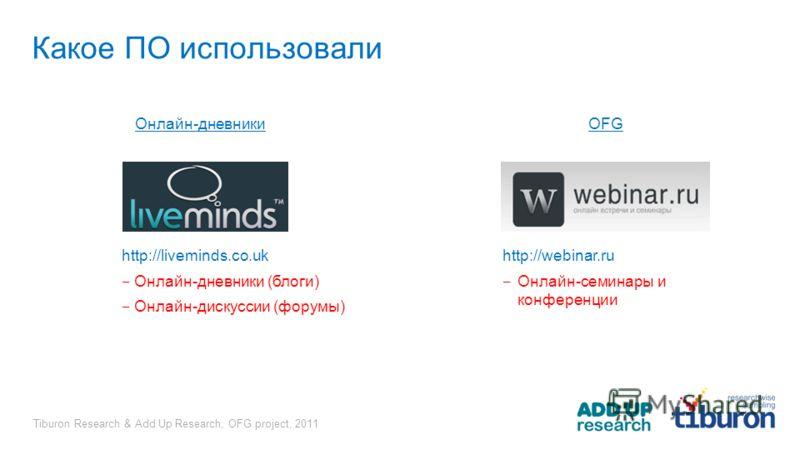 Tiburon Research & Add Up Research, OFG project, 2011 Какое ПО использовали Онлайн-дневникиOFG http://liveminds.co.uk Онлайн-дневники (блоги) Онлайн-дискуссии (форумы) http://webinar.ru Онлайн-семинары и конференции