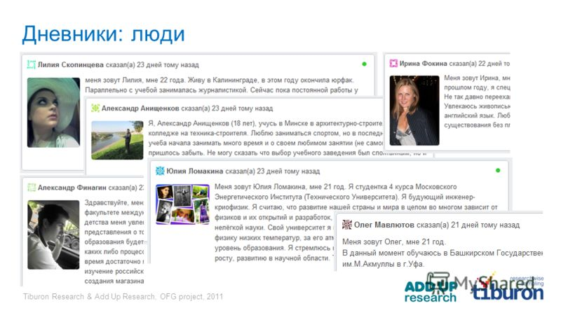 Tiburon Research & Add Up Research, OFG project, 2011 Дневники: люди