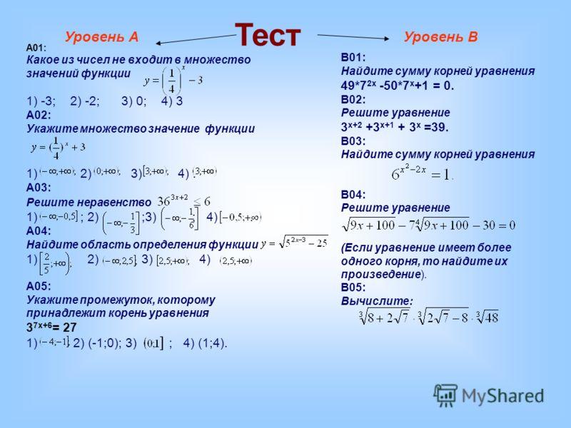 Тест Уровень АУровень В A01: Какое из чисел не входит в множество значений функции 1) -3; 2) -2; 3) 0; 4) 3 A02: Укажите множество значение функции 1) 2) 3) 4). A03: Решите неравенство 1) ; 2) ;3) ; 4). A04: Найдите область определения функции 1) 2)