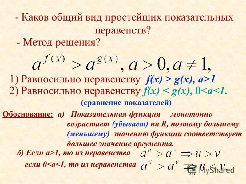 - Каков общий вид простейших показательных неравенств? - Метод решения? 1) Равносильно неравенству f(x) > g(x), а>1 Обоснование:а) Показательная функция монотонно возрастает (убывает) на R, поэтому большему (меньшему) значению функции соответствует б