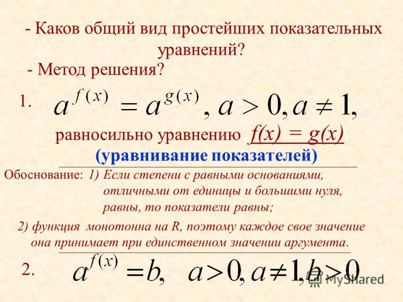 - Каков общий вид простейших показательных уравнений? - Метод решения? равносильно уравнению f(x) = g(x) 1.1. 2. Обоснование:1)Если степени с равными основаниями, отличными от единицы и большими нуля, равны, то показатели равны; 2) функция монотонна