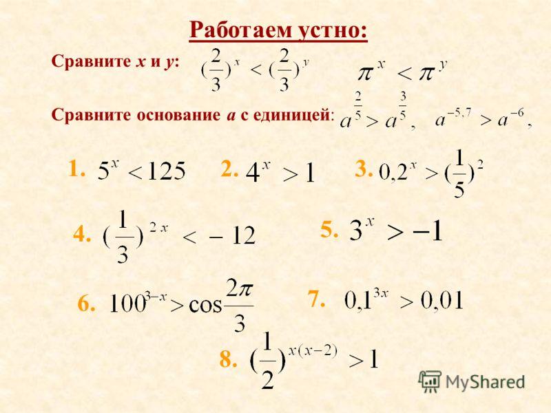 Работаем устно: Сравните x и y: Сравните основание а с единицей: 1. 2.3. 4. 5. 6. 7. 8.