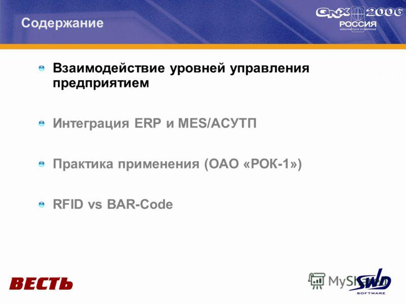 Взаимодействие уровней управления предприятием Интеграция ERP и MES/АСУТП Практика применения (ОАО «РОК-1») RFID vs BAR-Code Содержание
