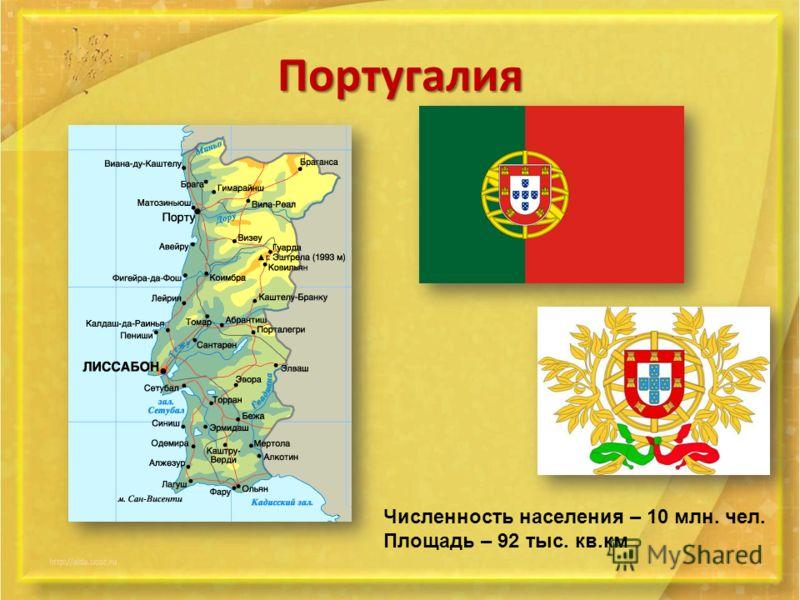 Португалия Численность населения – 10 млн. чел. Площадь – 92 тыс. кв.км