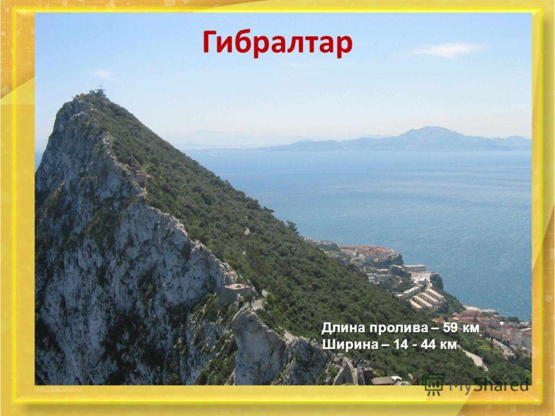 Гибралтар Длина пролива – 59 км Ширина – 14 - 44 км