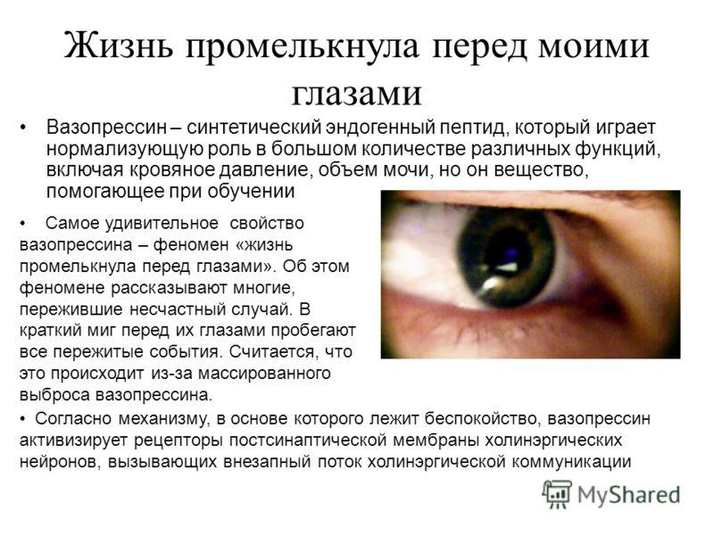 Жизнь промелькнула перед моими глазами Вазопрессин – синтетический эндогенный пептид, который играет нормализующую роль в большом количестве различных функций, включая кровяное давление, объем мочи, но он вещество, помогающее при обучении Самое удиви