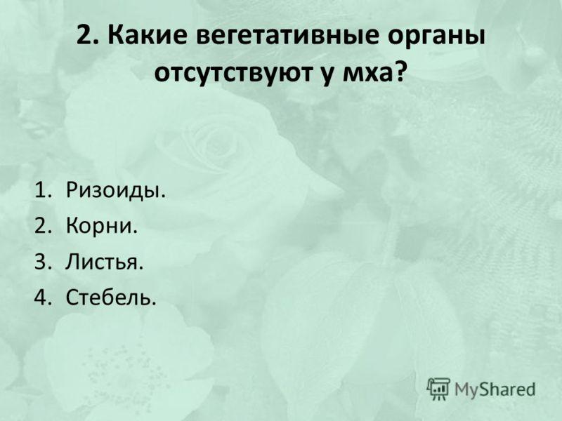 2. Какие вегетативные органы отсутствуют у мха? 1.Ризоиды. 2.Корни. 3.Листья. 4.Стебель.
