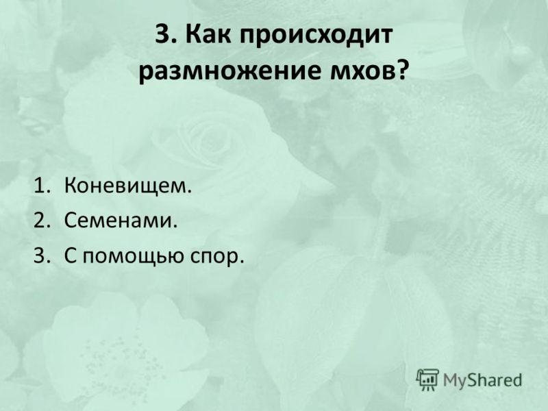 3. Как происходит размножение мхов? 1.Коневищем. 2.Семенами. 3.С помощью спор.