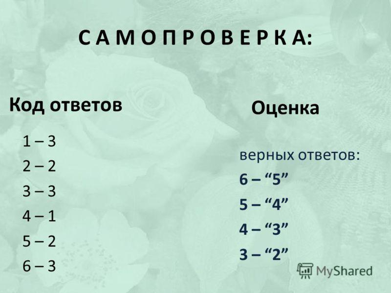 Код ответов 1 – 3 2 – 2 3 – 3 4 – 1 5 – 2 6 – 3 верных ответов: 6 – 5 5 – 4 4 – 3 3 – 2 Оценка С А М О П Р О В Е Р К А: