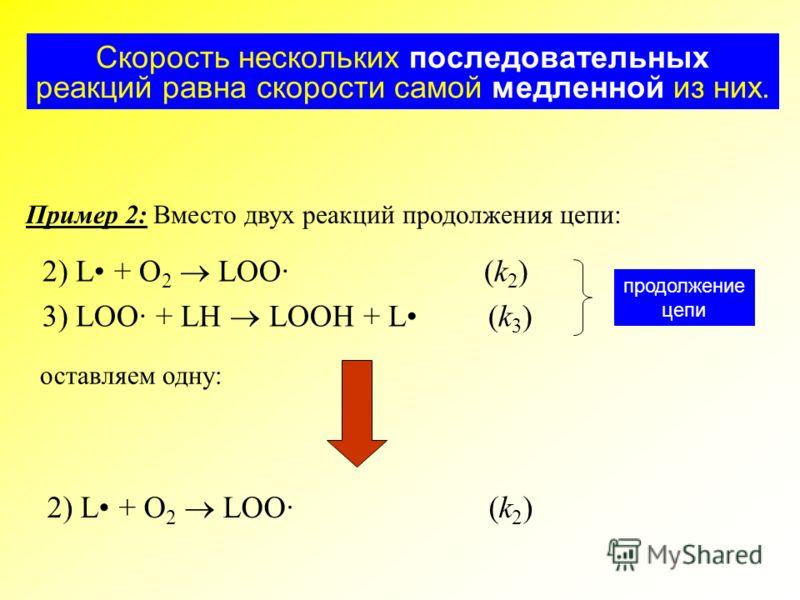 Скорость нескольких последовательных реакций равна скорости самой медленной из них. Пример 2: Вместо двух реакций продолжения цепи: 2) L + O 2 LOO· (k 2 ) 3) LOO· + LH LOOH + L (k 3 ) продолжение цепи 2) L + O 2 LOO· (k 2 ) оставляем одну: