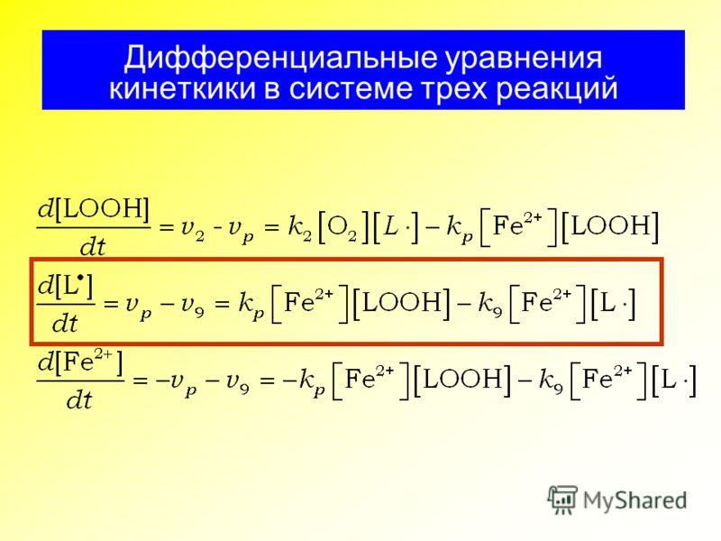 Дифференциальные уравнения кинеткики в системе трех реакций
