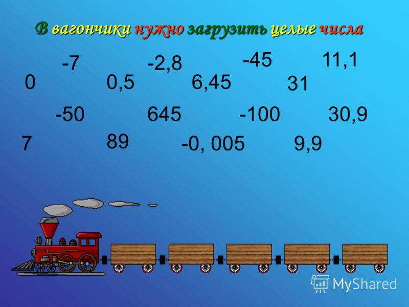 В вагончики нужно загрузить целые числа 0 -7 0,5 89 -2,8 7 -50 6,45 645 -45 -0, 005 31 -100 9,9 11,1 30,9