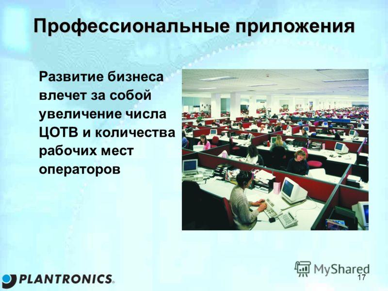 17 Профессиональные приложения Развитие бизнеса влечет за собой увеличение числа ЦОТВ и количества рабочих мест операторов