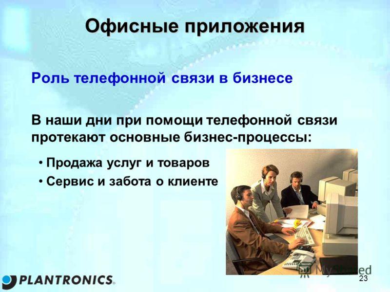 23 Офисные приложения Роль телефонной связи в бизнесе В наши дни при помощи телефонной связи протекают основные бизнес-процессы: Продажа услуг и товаров Сервис и забота о клиенте