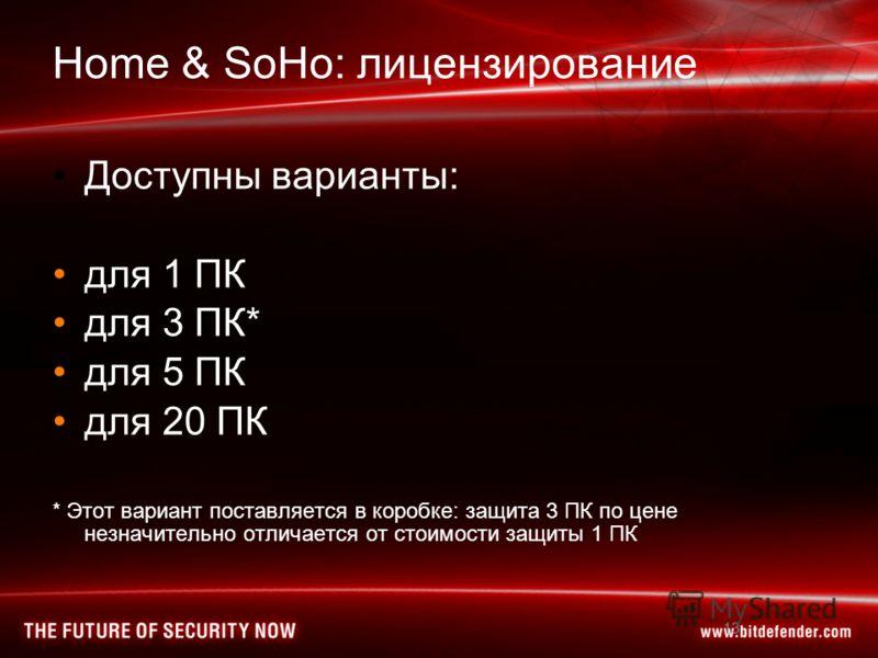 13 Home & SoHo: лицензирование Доступны варианты: для 1 ПК для 3 ПК* для 5 ПК для 20 ПК * Этот вариант поставляется в коробке: защита 3 ПК по цене незначительно отличается от стоимости защиты 1 ПК 13