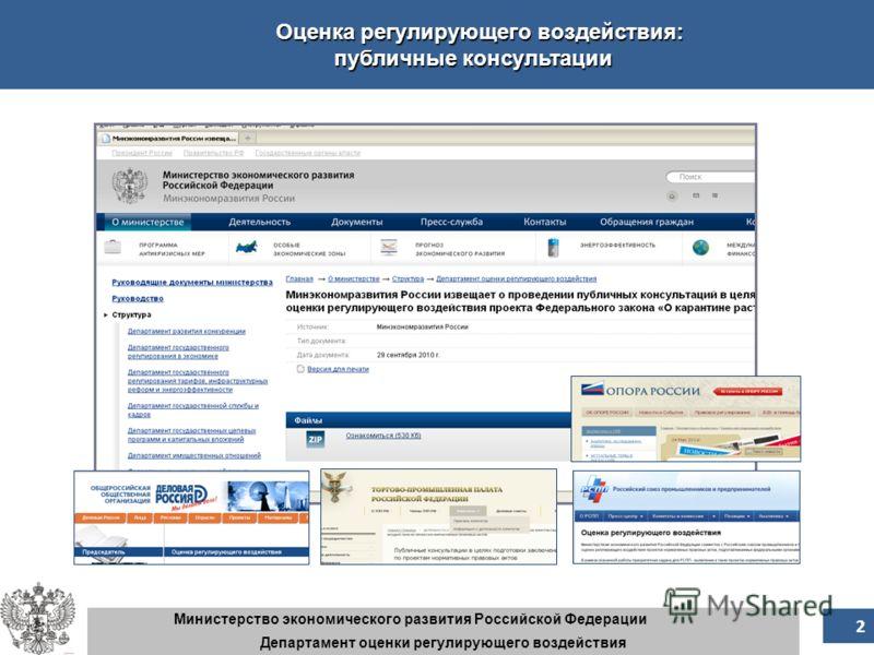 3 3 Министерство экономического развития Российской Федерации Департамент оценки регулирующего воздействия Оценка регулирующего воздействия: публичные консультации 2