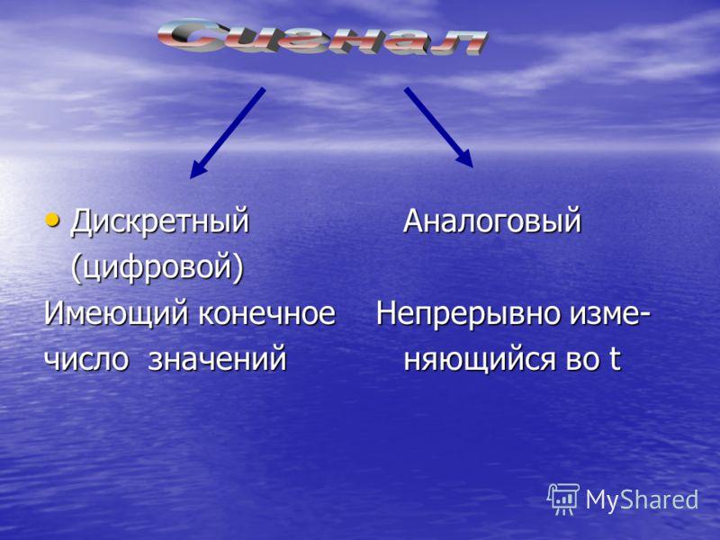 ДискретныйАналоговый ДискретныйАналоговый(цифровой) Имеющий конечное Непрерывно изме- число значенийняющийся во t