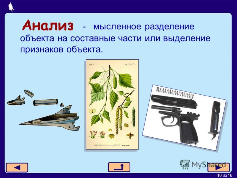 10 из 16 Анализ объекта на составные части или выделение признаков объекта. - мысленное разделение