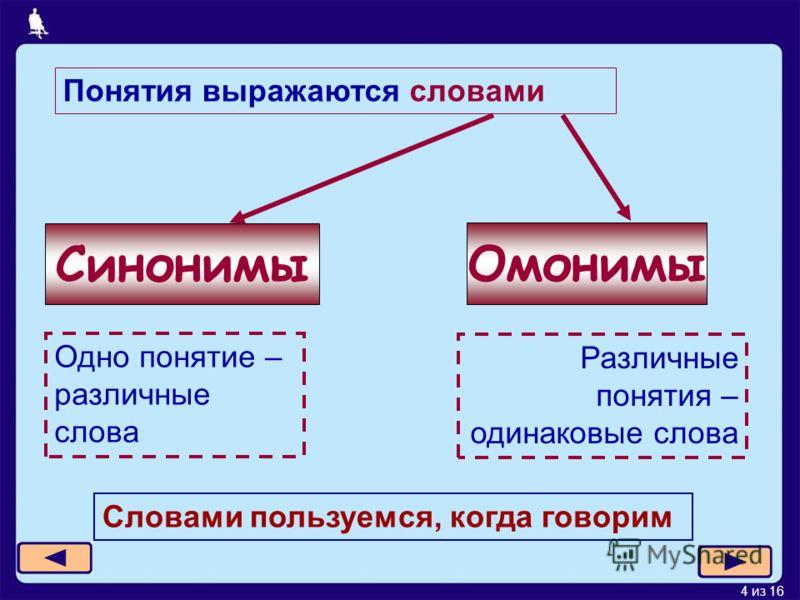 4 из 16 Понятия выражаются словами Синонимы Омонимы Одно понятие – различные слова Различные понятия – одинаковые слова Словами пользуемся, когда говорим