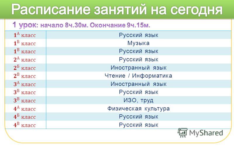 Русский язык Музыка Русский язык Иностранный язык Чтение / Информатика Иностранный язык Русский язык ИЗО, труд Физическая культура Русский язык