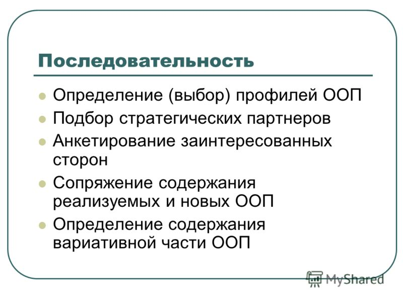 Последовательность Определение (выбор) профилей ООП Подбор стратегических партнеров Анкетирование заинтересованных сторон Сопряжение содержания реализуемых и новых ООП Определение содержания вариативной части ООП