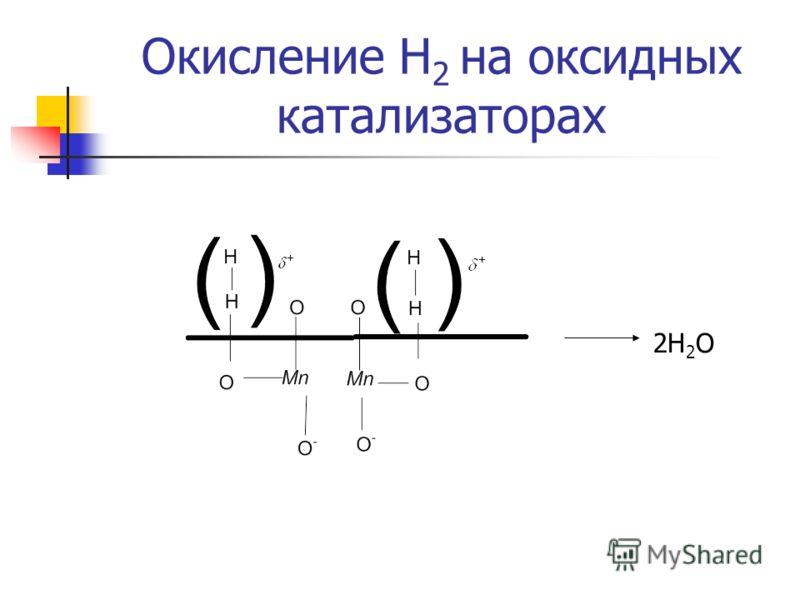 Окисление Н 2 на оксидных катализаторах 2Н 2 О