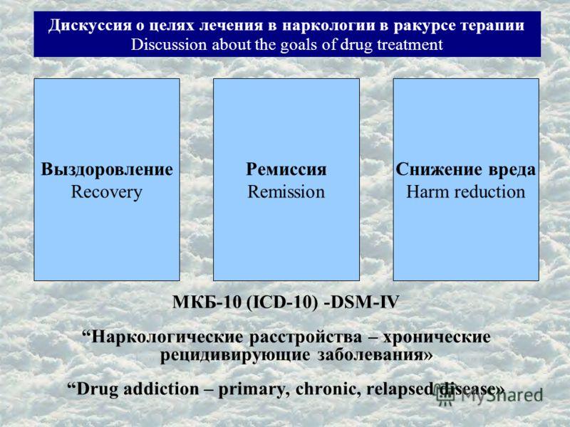 Дискуссия о целях лечения в наркологии в ракурсе терапии Discussion about the goals of drug treatment МКБ-10 (ICD-10) -DSM-IV Наркологические расстройства – хронические рецидивирующие заболевания» Drug addiction – primary, chronic, relapsed disease»